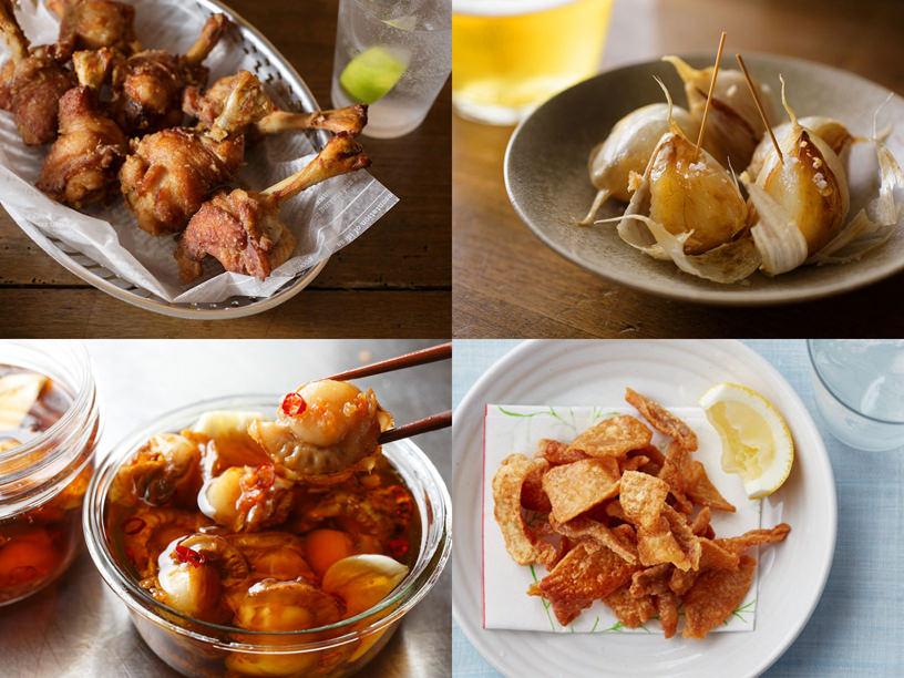 チューリップ唐揚げ、揚げにんにく、ほたてのオイル漬け、鶏皮せんべいの集合写真