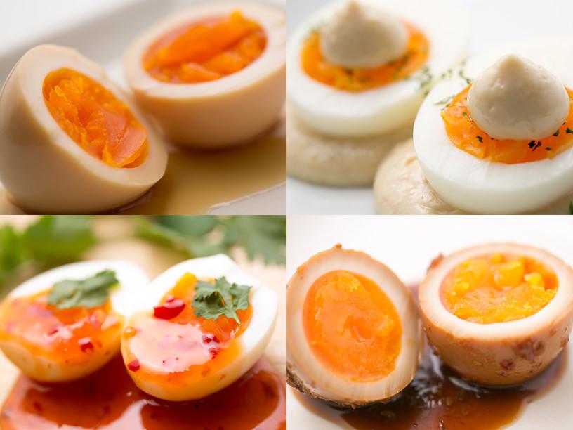 調味料で味付けしたゆで卵