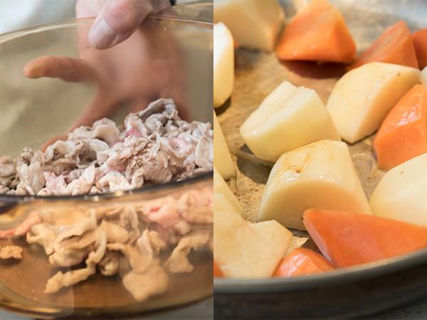 炒めた豚肉を取り出したところ、フライパンでじゃがいもとにんじんを炒めているところ