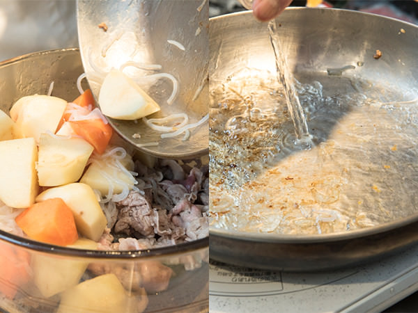 具を鍋に空けているところ、フライパンでデグラッセを行っているところ