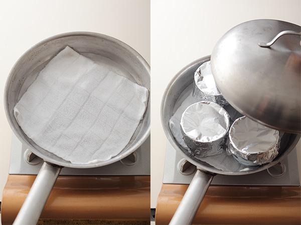 フライパンで茶碗蒸しを蒸しているところ