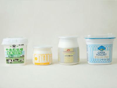 4種類のヨーグルトのイメージ