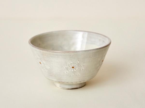 清水焼 花月窯 櫛目印章飯碗