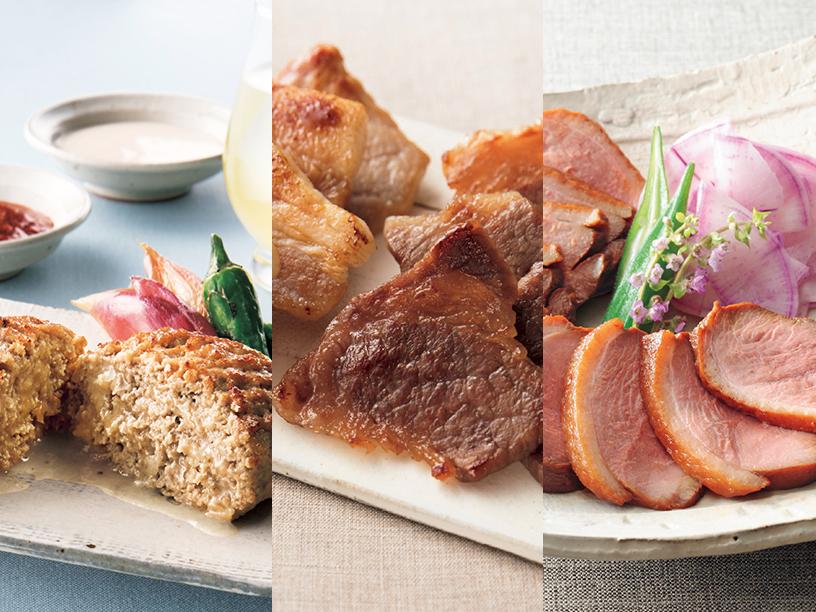 日本料理なだ万の和風ハンバーグ、赤坂松葉屋の料亭の味詰合せ、下鴨茶寮の料亭の合鴨ロース煮込み