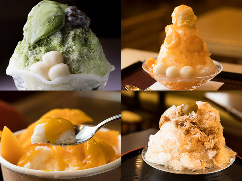 特別食堂 日本橋の抹茶宇治金時、四季茶寮 えどの杏かき氷、サン・フルーツの贅沢マンゴーかき氷、雪月花の氷梅