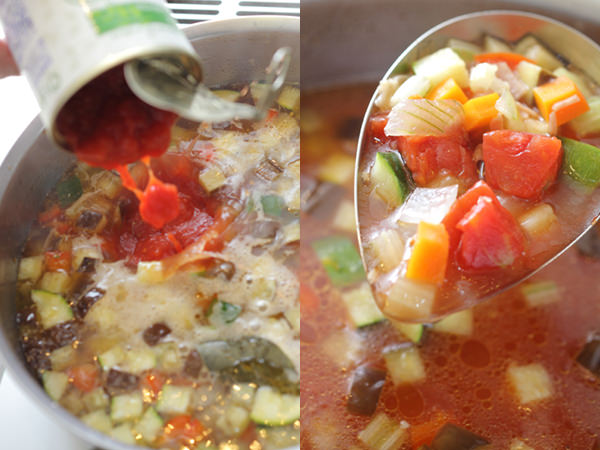 鍋にカットトマトを加えているところ、完成したミネストローネ