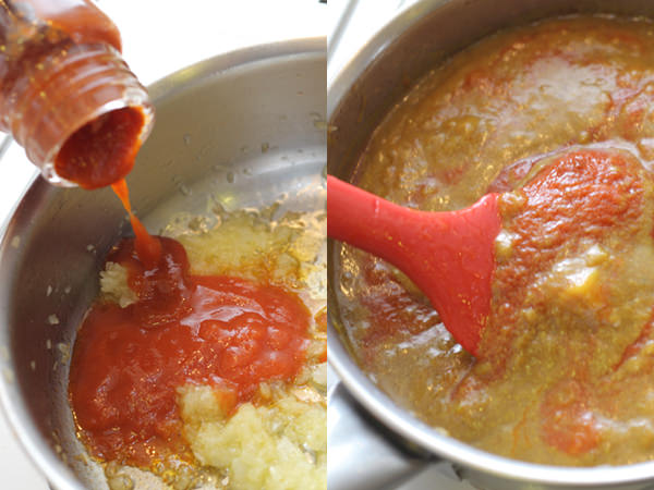 鍋にトマトピューレを加えているところ、カレーにトマトピューレを加えて混ぜるところ