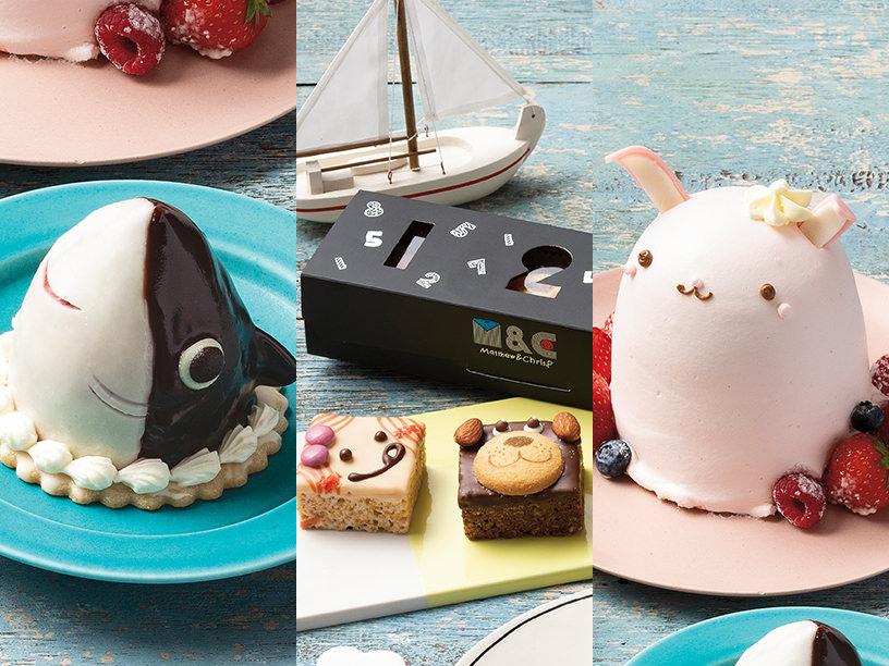 ユーハイム・ディー・マイスターのサメが来たぞ!、Matthew&Chris.Pのクリスピーケーキ、ロリオリ365 by アニバーサリーのアニマルデコレーションケーキうさぎ