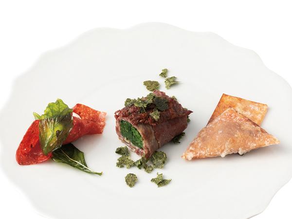 六本木 炭火焼肉 Anの夏野菜と色とりどりのお肉巻き
