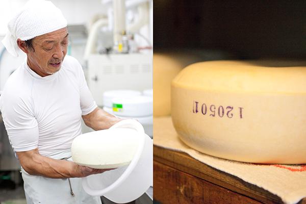 <さらべつチーズ工房>野矢敏章さん(写真上)、ゴーダチーズ「酪佳」(写真下)