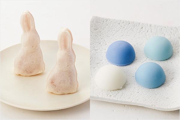 深川屋 陸奥大掾のもちもち最中「雪うさぎ」(左)、御菓子つちやのゆきあそび(右)