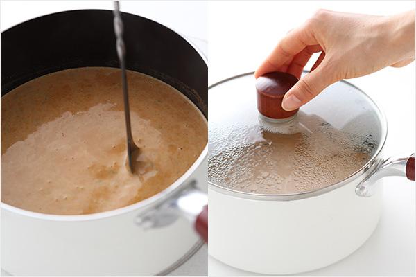 (左)軽くかき混ぜているところ、(右)蓋をして蒸らしているところ ※写真では倍量で作っています。