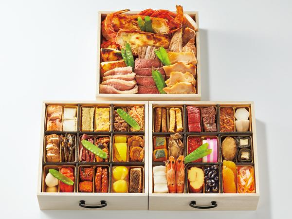 春秋の酒宴木箱三段重