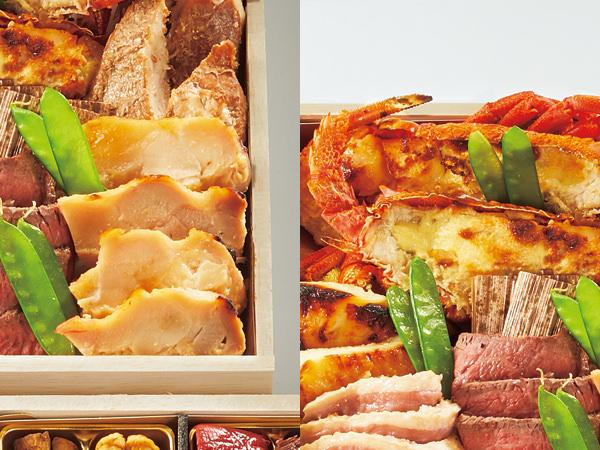 春秋の酒宴木箱三段重より、ロブスターの唐墨マヨネーズ焼きと鶏の酒盗漬け焼き