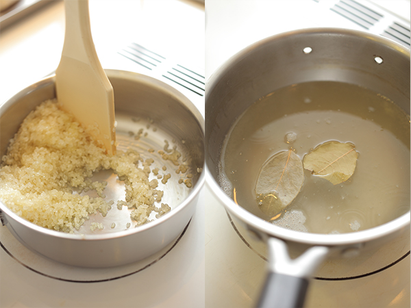 オリーブオイルで米を炒める、ブイヨンを沸かす
