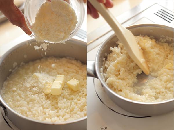 リゾットにバターをチーズを加える、リゾットを木べらで混ぜる