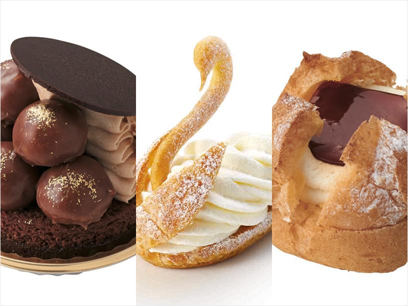 左からデメル、ルコント、アンリ・シャルパンティエなどのシュークリーム