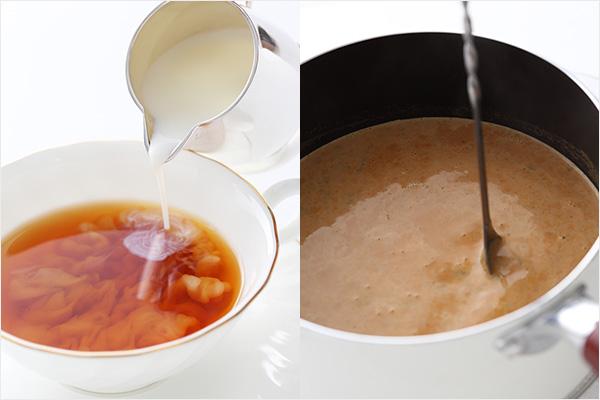 (左)ティーカップにミルクを注いでいるところ、(右)鍋で紅茶とミルクを加熱しているところ