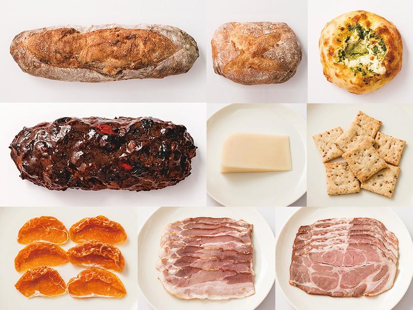 生姜とクルミのバゲット、ミニカンパーニュ、阿蘇バジルペーストとチーズの塩パン、熊本ドライトマトと不知火のベラベッカ風、阿蘇ミルク牧場のゴーダチーズ、ごぼうの酵母クラッカー、熊本不知火の無糖ドライフルーツ、阿蘇ミネラル豚 香心ポーク無添加ロースハムとベーコンスライス