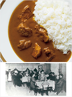 上:三越食堂カレーセット、下:三越食堂のイメージ