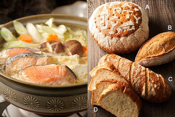 (左)味噌鍋、(右)アンデルセンのアニバーサリーカンパーニュ、メゾンカイザーのカンパーニュ、グリーンブレッドの有機パンドセーグル、銀座木村家のライ麦パン