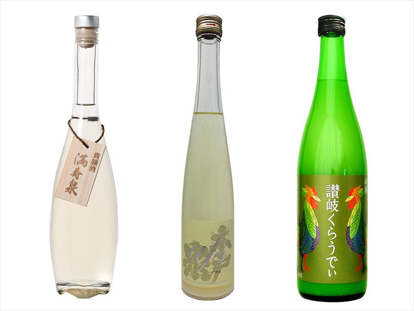 (左から)桝田酒造店の満寿泉 貴醸酒、木戸泉酒造の木戸泉アフススパークリング、川鶴酒造の讃岐くらうでぃ