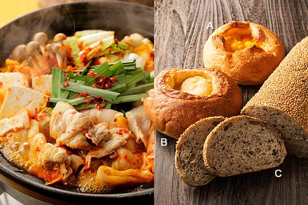 (左)キムチ鍋、(右)アンデルセンのチェダーチーズ、サムソーチーズボウル、トレコンブロート