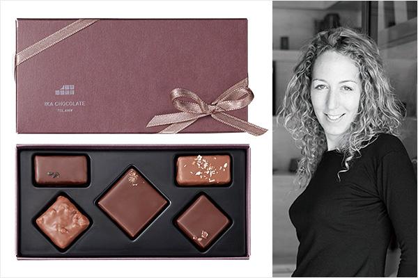 イカ チョコレートのデッドシーソルトコレクションとシェフのイカ・コーエン氏