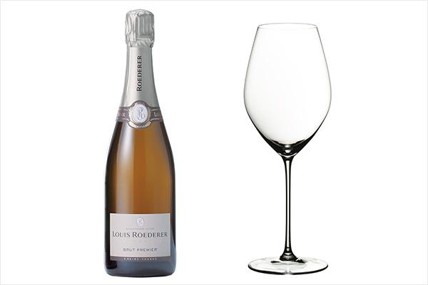 (左)ルイ・ロデレールのブリュット・プルミエ、(右)リーデルのヴェリタスシリーズ シングルパック シャンパーニュ・ワイン・グラス