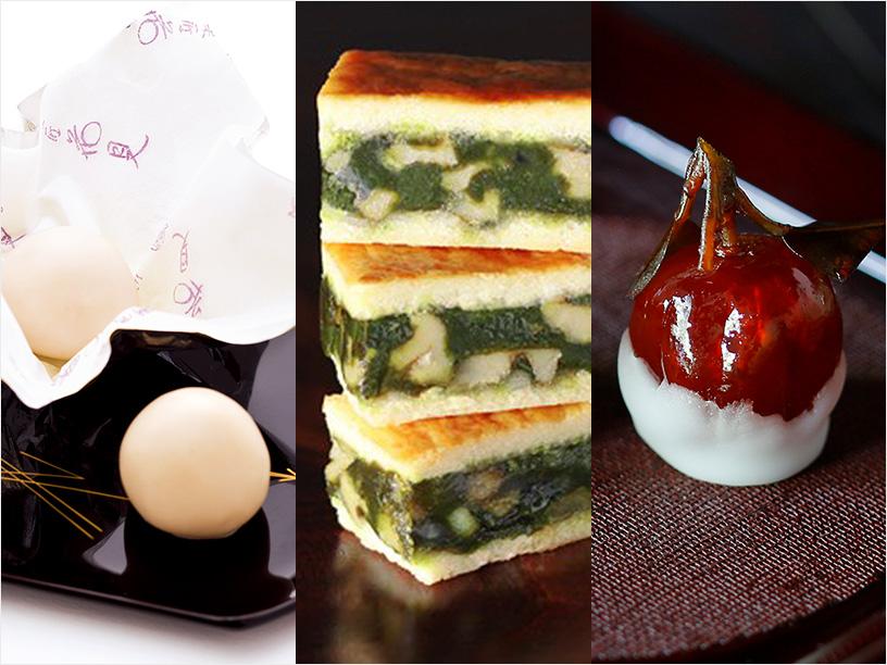 菓匠花見の白鷺玉、日本茶菓SANOAHのキャラメルサンドクッキー胡桃抹茶、老松の橙糖珠