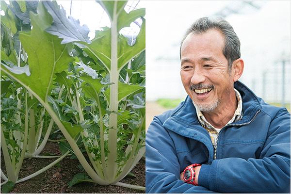 左:畑の潮江菜 右:熊澤秀治さん