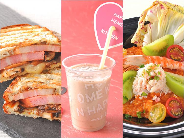 シャンパーニュバー ザ スタンドの厚切りベーコンを使った濃厚ホットサンド、ハッピーホームキッチンのバナナ&ストロベリーミルク、ラッテ チャノママの車海老と蟹とフレッシュトマトのビスククリームリゾット