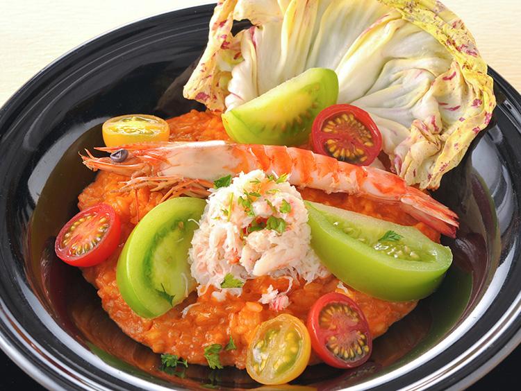 ラッテ チャノママの車海老と蟹とフレッシュトマトのビスククリームリゾット