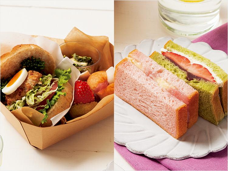 <イッツ サンドイッチ マジック>季節のランチボックス、桜もちと抹茶のデザートサンド