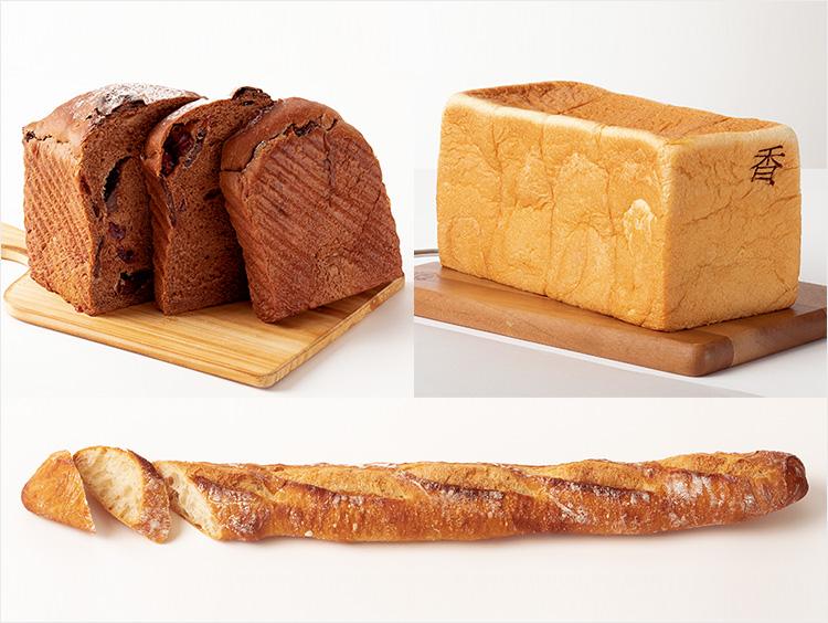 <俺のBakery&Cafe>(左上)チョコレートとクランベリー(1斤)900円(税込)、(右上)銀座の食パン〜香〜(2斤)1,001円(税込)、<シニフィアン シニフィエ>(下)バゲット ルヴァン(1本)540円(税込)