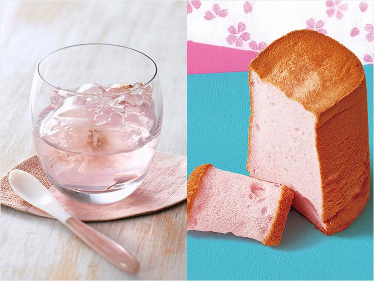 ((左)ベジターレのさくらゼリーの盛り付け例、右)フレイバーの桜エンジェルフードケーキ