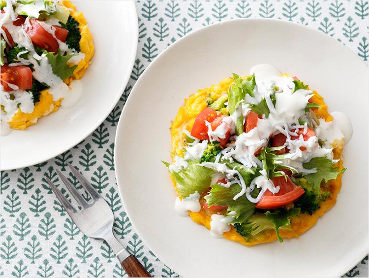 しらすと野菜のシーザーサラダ風オムレツ
