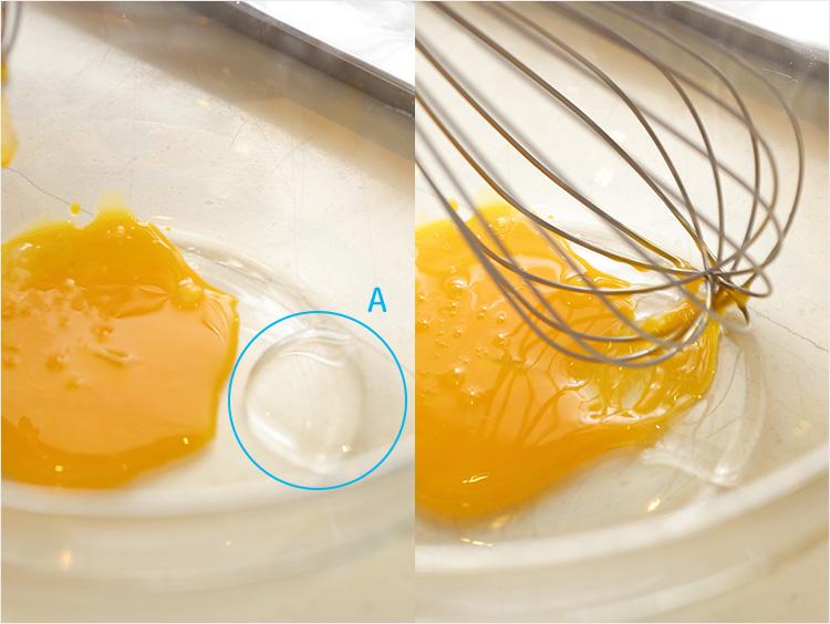 卵を溶きほぐしている様子