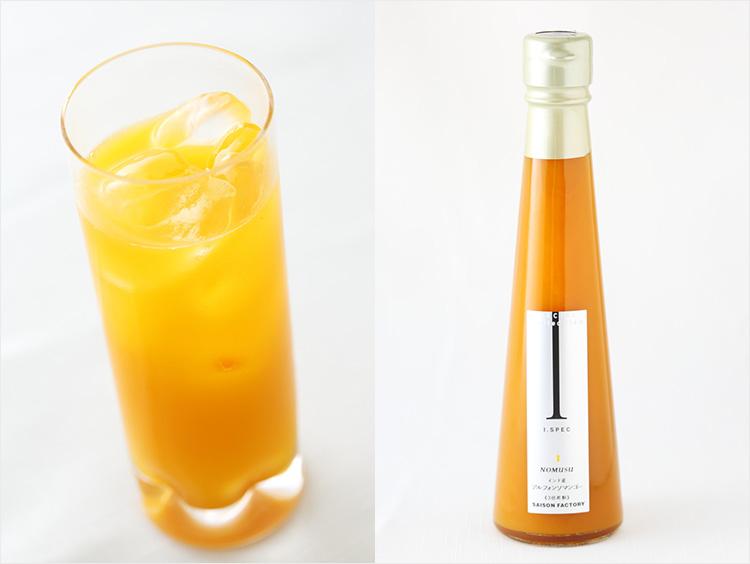 <セゾンファクトリー>飲む酢 マンゴー黒酢(右)と使用例のイメージ