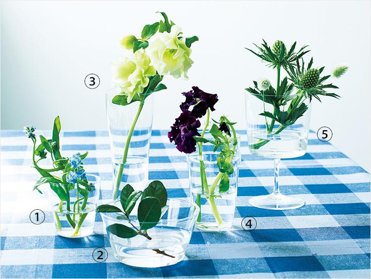 花とグラスの集合