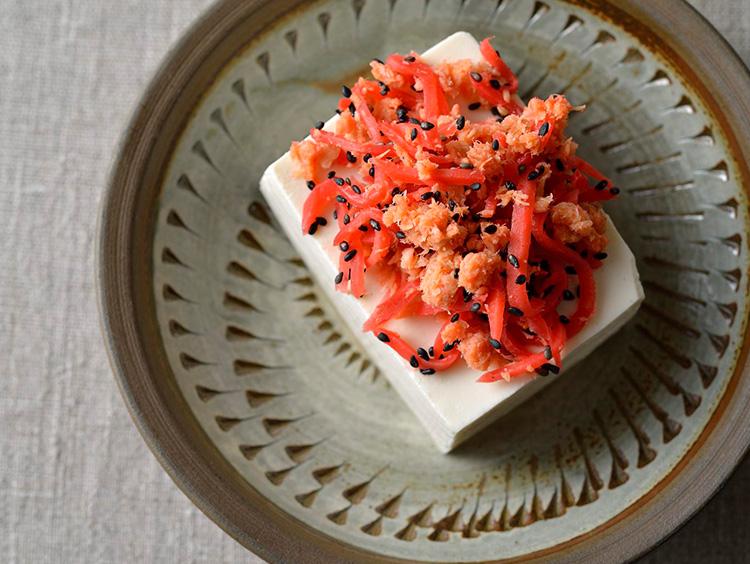豆腐アレンジ 紅しょうが×鮭フレーク×黒ごま