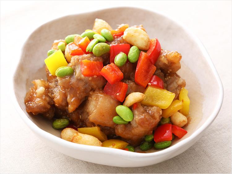 <まつおか>彩り野菜とにんにくの黒酢豚