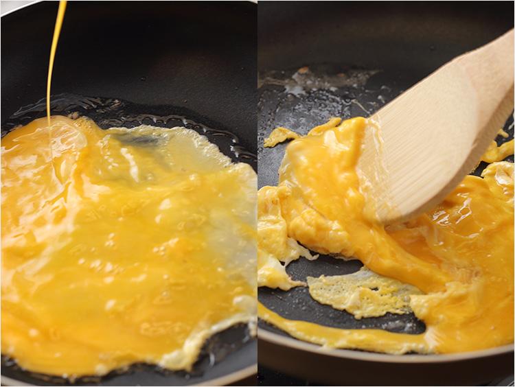 卵を炒めている様子