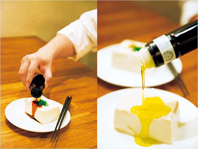 豆腐にミツル醤油、オリーブオイルをかけているところ