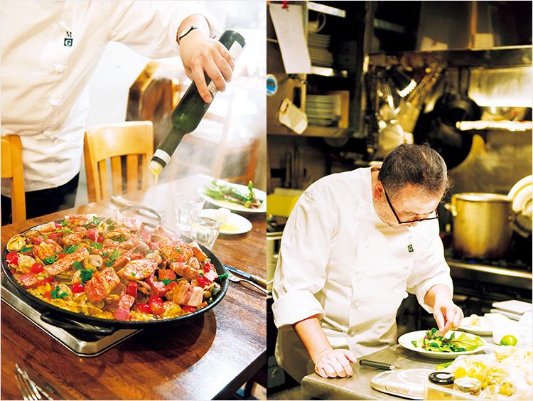 (左)パエリアにオリーブオイルをかけているところ、(右)サラダを盛り付けているところ