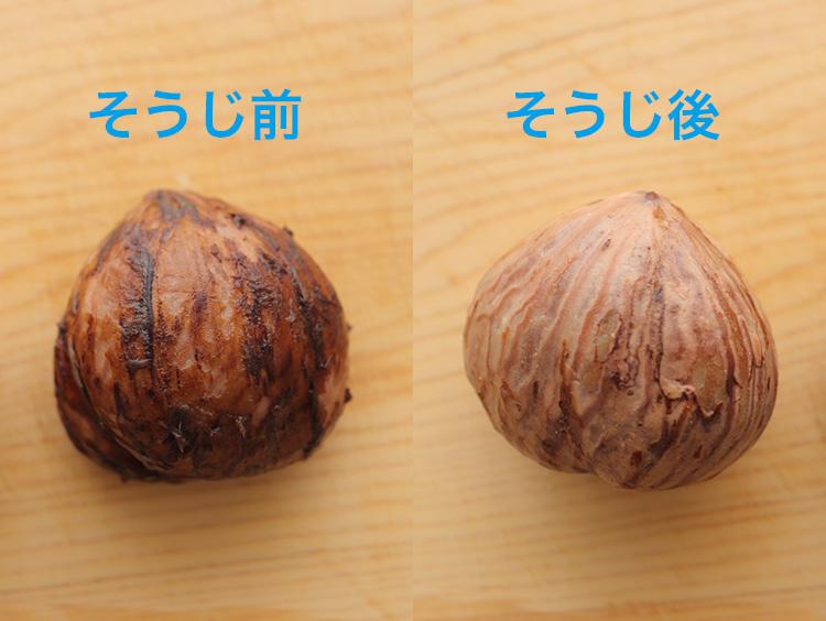 栗の渋皮のそうじ前と後のイメージ