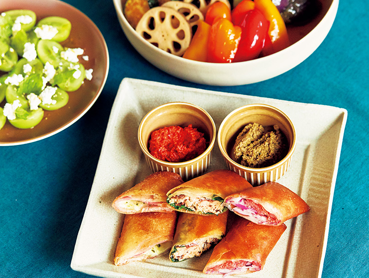 秋野菜の揚げ浸し、フライパン春巻き、マスカットのサラダ集合