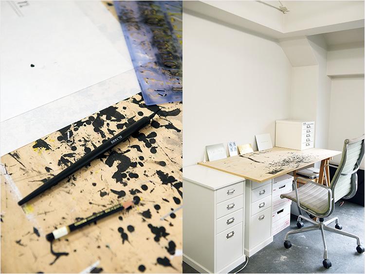 パリのキュリー研究所のドローイングや作品に関連したノート。