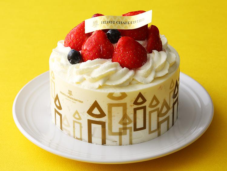 <アンリ・シャルパンティエ>ザ・ショートケーキ(約直径10.5cm×高さ5cm) 2,322円(税込) ※販売期間:通年(クリスマス期間他、一部取り扱い休止期間がございます)