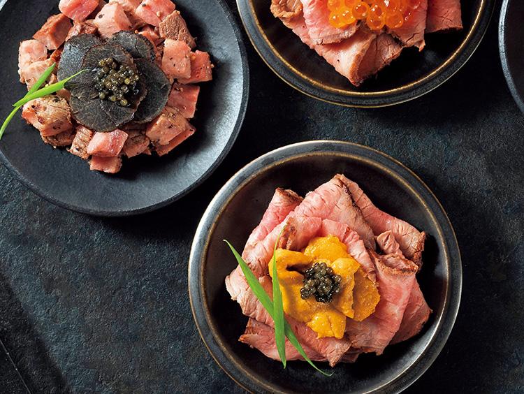 松阪牛ローストビーフ4種キャビア添え